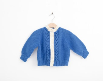 Vintage Cable Knit Cardigan Sweater in Royal  Blue