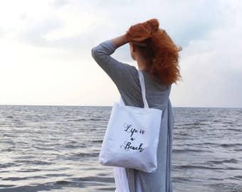 Cotton tote bag. Fabric shopping bag. Large shoulder bag. Canvas tote bag. Bridesmaid gift. White bag. Handwritten. /SIMPLE TOTE 11