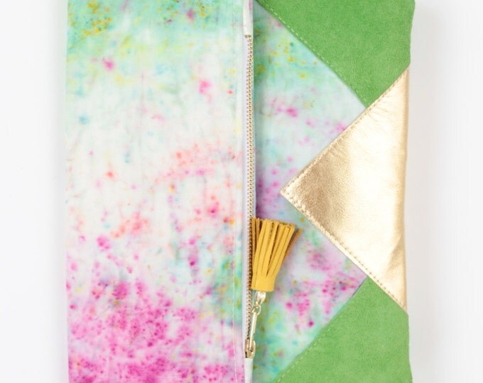 FESTIVE 2 / Folded clutch purse - dyed bag - geometric purse - metallic leather purse -green neon pink gold- tassel bag- Ready to Ship