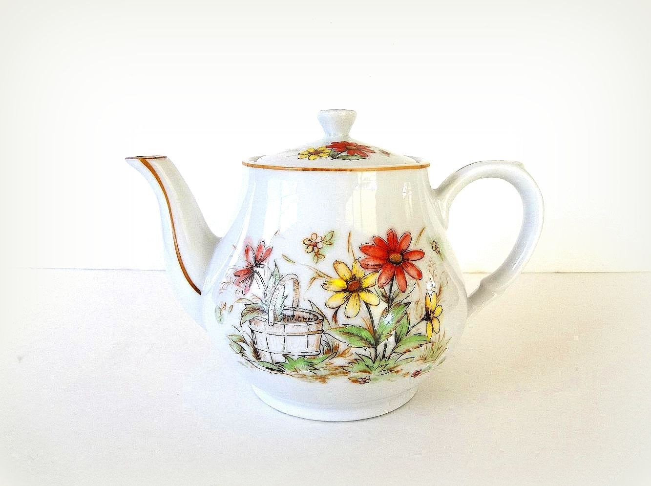 Sale Vintage Teapot Floral Flower Tea Pot Daisy Tea Pot