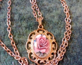 Cameo Porcelain Rose Victorian Necklace