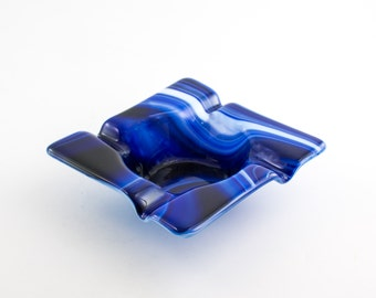 Unique Ashtray, Cigar Ash Tray, Smoking Accessories, Cigarette Tray, Fused Glass Ashtray, Unique Home Decor, Gifts for Smokers