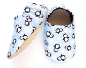Penguin Baby Boy Shoes, 6-12 mos Baby Booties, Baby Soft Shoes, Slip On Baby Shoes, Baby Boy Gift