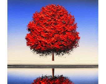Tree Print, Minimalist Tree Art Print, Red Tree Artwork,  Mid Century Modern Art Tree Reflection, Seasons Wall Art, Giclee Print of Tree