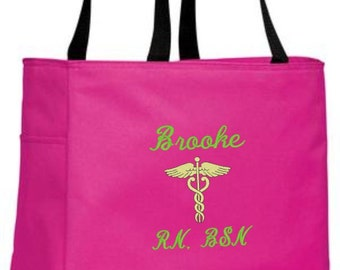 Nurse Tote, Nurse Tote Bag, Nurse Bag, Nurse, Nurse Gift, RN, LPN, BSN, Nurse Appreciation, Gift for Nurse, Nursing Student, Caduceus, Gift