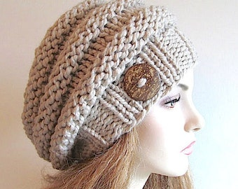 PDF Knitting Pattern Instant Download Bulky Slouchy Beanies Berets Beehive Hats Womens