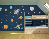 Rocket Planets Stars Alien Printed Matte Removable Vinyl Wall Art, childs bedroom kids room planets saturn planet decals mars satellite