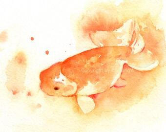 Fish, fish print, art, giclee, watercolor, watercolor painting, watercolor art print, Goldfish---Original watercolor giclee print