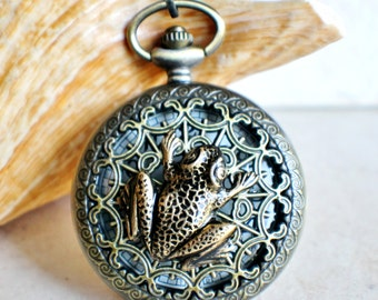 Frog pocket watch men's pocket watch, front case is mounted with bronze frog