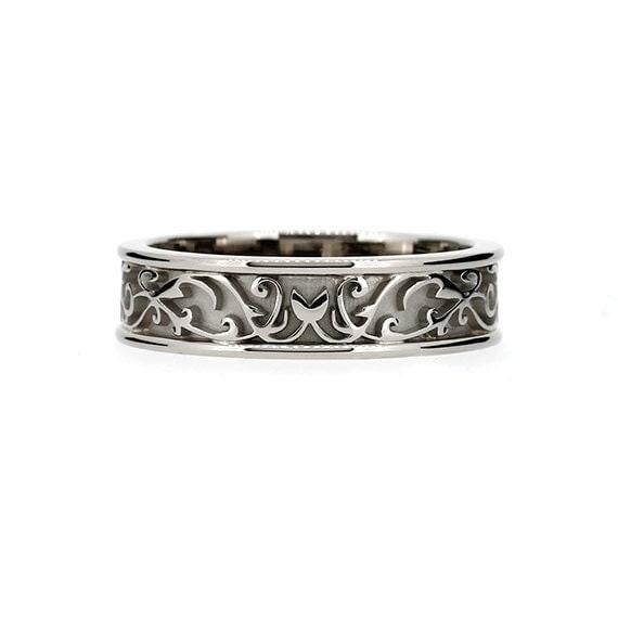 wide filigree wedding ring mens wedding ring by