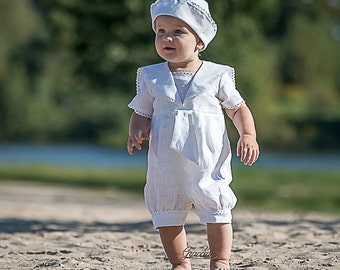 Baby boy baptism outfit Boy sailor rompers Baby boy linen overalls White christening suit Ring bearer outfit photo prop Boy nautical clothes