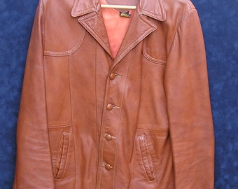 CLEARANCE SALE Vintage Leather Coat, Cabretta Glove Leather, Mens Leather Coat