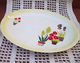 Flower Pots Platter . Paden City Pottery . Vintage Ceramic Serving Dish . Potted Plants Plate