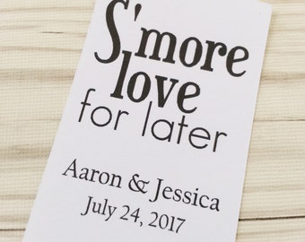 S'more Love - Wedding Favor Tags - Smores Wedding Favor Tag  - Personalized - Bridal Shower - Baby Shower - Custom Quantities  - WT-039