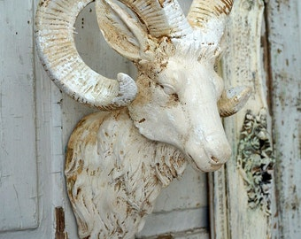 Ram head mount w/ frame wall hanging distressed rustic farmhouse painted horn goat framed cream white w/ aged home decor anita spero design