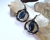 Galaxy Earrings - Blue Agate, Copper, Eco Friendly tin with silver, talisman, moonchild, goddess, cosmos, galaxy, stars, eye, rustic, magic