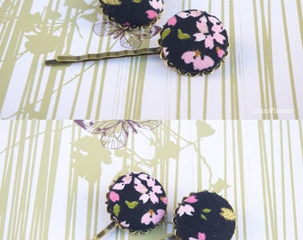 black Bobby Pins, Floral Fabric Button, Fabric Hair Pins, Set of 2, Japan Hair Jewelry, Bobby Pin Pair, set of two, CHOOSE YOUR COLOR
