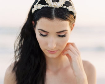 Gold Bridal Tiara. Wedding Crown. Wedding Flower Crown. Bridal Hair Accessory {Eva}