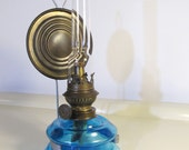 Antique Collectible Kosmos Brenner Kerosene Cobalt Blue Glass  Oil Lamp with Brass Reflector and Wall Bracket