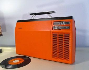 Vintage Record Player, Retro Rare PHILIPS Type 270 Vinyl lp Working Portable Record Player 33,45  rpm Orange Philips 22AF270 00L  70s