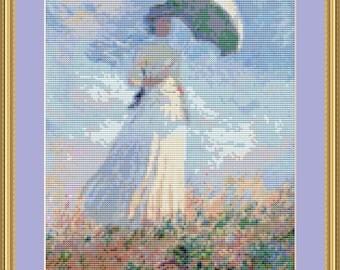 La Femme à L'Ombrelle Cross Stitch Pattern