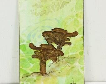 Whimsical Brown Mushrooms ACEO, Woodland Fungi Watercolor Original Miniature Art