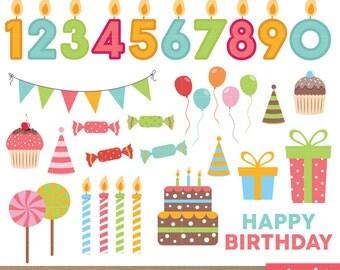 Happy Birthday Clip art, Birthday clipart, Scrapbook Supplies, Birthday Cake Graphic, Invitation, Invitation, Bday - Instant Download