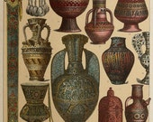 1888 Antique print of ARABIC CULTURE. Ceramic ware. Weapons. Pottery. Utensils. ARABS. 126 years old nice lithograph