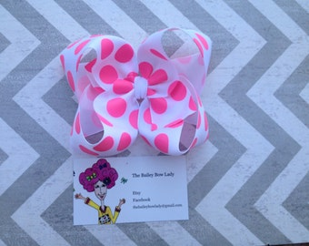 White and Pink Polka Dot Boutique Hair Bow