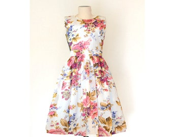 Floral Cotton Dress, White Floral Dress, Made to Order Dress, Fit and Flare dress, 50's dress