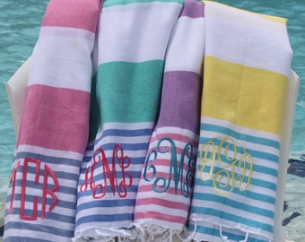 Monogram Turkish Towel Peshtemal Beach Cabana Stripe Personalized Monogrammed Gift