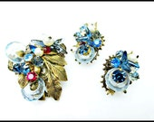 Bead cluster Leaf brooch and earring set Brass and molded art glass rhinestones