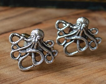 Kraken Cufflinks, Silver Octopus Cufflinks,  Octopus CuffLinks,  Silver Octopus Cuff Links, Beach Cufflinks, Pirate Cufflinks, Nautical