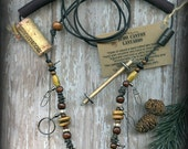 Fly Fishing Lanyard + Tippet Holder with Salwag Seed, Bone, Horn, Wood and Wire Beads on Black 2mm Paracord