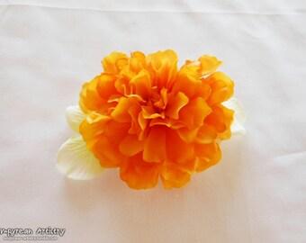 Flower Hair Barrette - Fabric Flower Hair Accessory - Handmade Hair Barrette Piece - Gold and White Flowers