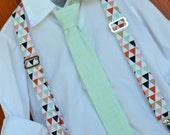 Mint and Pink Little Boy Necktie & Suspenders, Mint tie, gold blush mint necktie, blush mint suspenders, mint child suspenders, baby mint