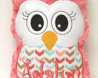 Personalized Coral & Aqua Stuffed Owl Reading Buddy Pillow, Soft Toy