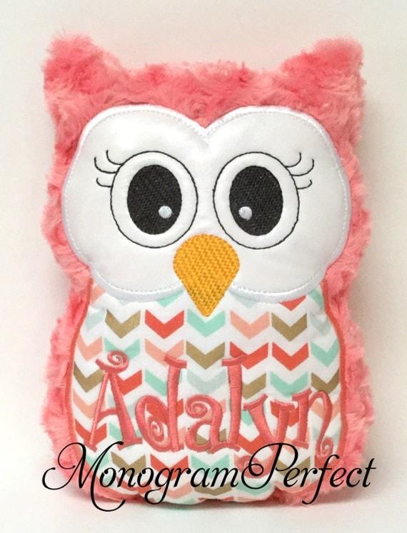 Personalized Coral & Aqua Stuffed Owl Reading Buddy Pillow