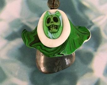 Green Horned Skull Smoky Quartz Crystal Toadstool Pendant