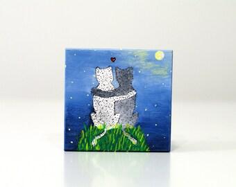 Love box Wedding rings box Cute cats box Hand painted small wooden box I love you gift Small wedding gift Wood box Small jewelry box