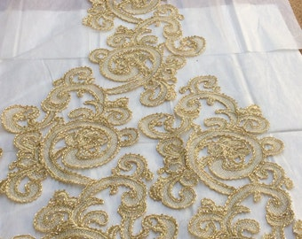 Gold Beaded Lace, Beaded Lace, Gold Applique, Beaded Gold Applique, Gold Lace (C5)