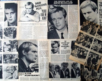 DAVID MCCALLUM ~ NCIS, The Man From U.N.C.L.E., Sapphire and Steel, Ducky Mallard ~ B&W Articles from 1965-1967