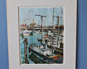 Don Davey Art Print, Fisherman's Wharf,  San Francisco Bay Print, Fishing Boats, Sailing Boats, Harbour Scene, American artist