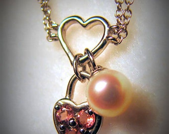 Vintage 14k WHITE Gold Heart Necklace -- Charms of PINK TOURMALINE Heart and Pearl, Section of Double Chain