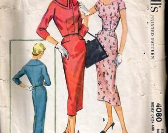 "Vintage 1957 McCall's 4080 Slim Dress & Jacket Sewing Pattern Size 14 Bust 34"""