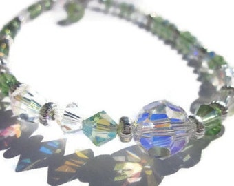 Swarovski Crystal AB and Peridot Anklet, Summer jewelry, Crystal Anklet, Custom Anklets