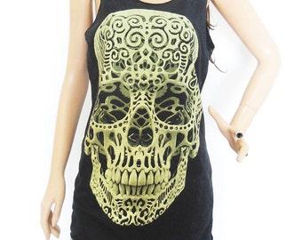 X-Ray Skeleton shirt skull shirt tumblr tee graphic tank women tank men tank workout tanks graphic tops bleach black shirt unisex size M