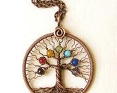 Chakra pendant Yoga-Necklace Tree of Life Pendant copper wire Family tree Rainbow pendant Universal gift chakra stones Diameter 51 mm