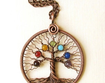 Chakra pendant Yoga-Necklace Tree-of-Life Pendant Chakra-Jewellery copper wire Family-tree Rainbow pendant women gift chakra stones MW01