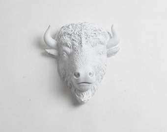 OVERSTOCK SALE - MINI White Bison Head